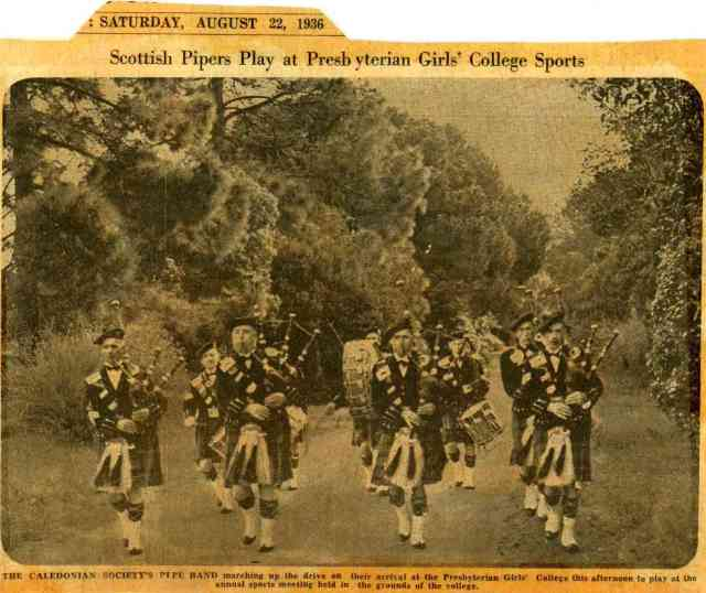 1936 SA Caledonian Band at Presbyterian Girls College sports day August 22nd